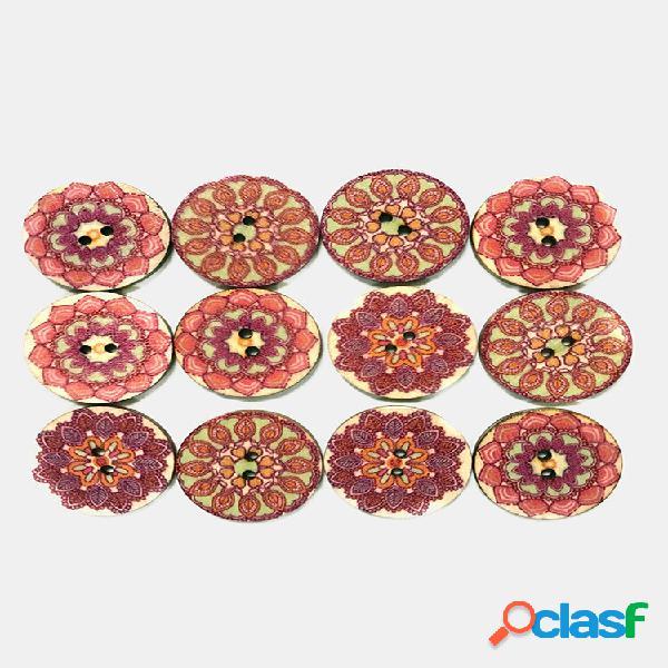 100 pcs rosa flor padrão botões botão redondo feito à mão retro europeu padrão diy decorativo botões