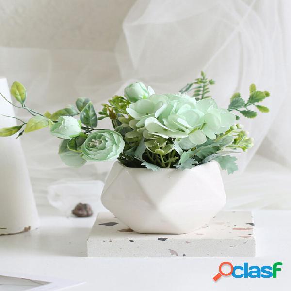 1 pc em vaso de rosa flor artificial pote de ferro bonsai home office jardim decoração artificial verde licença planta d