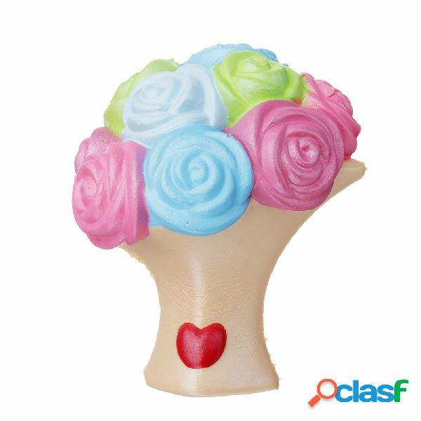 Rosa flor squishy lento rising toy presente coleção decoração com caixa de embalagem