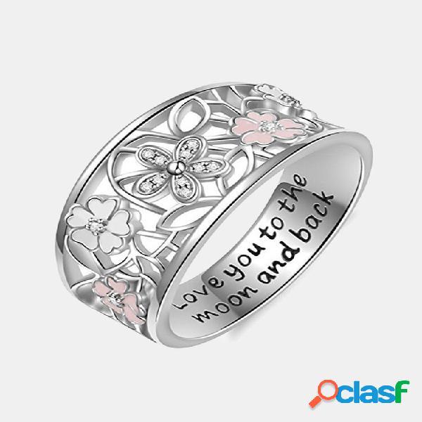Doce rosa flor encanto letras gravadas anéis de dedo noivado joias de casamento para mulheres