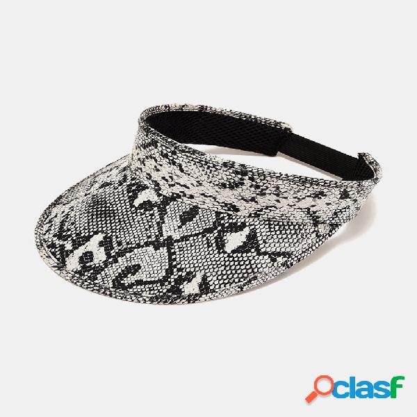 Sobreposição de couro unissex snake print fashion protetor solar vazio top chapéu