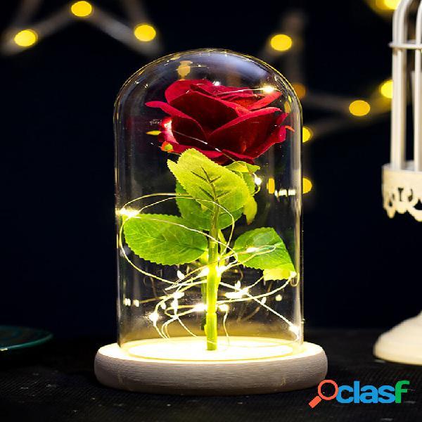 Presente criativo de decoração de flor rosa com tampa de vidro flor eterna presente de dia das mães