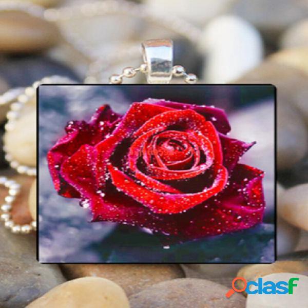 Colares femdentrodentroos com estampa de vidro quadrado vdentrotage flor rosa pdentrogente joias
