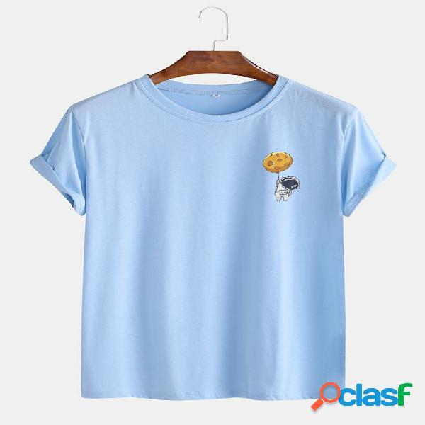 Camisetas masculinas de algodão engraçado com estampa casual de manga curta