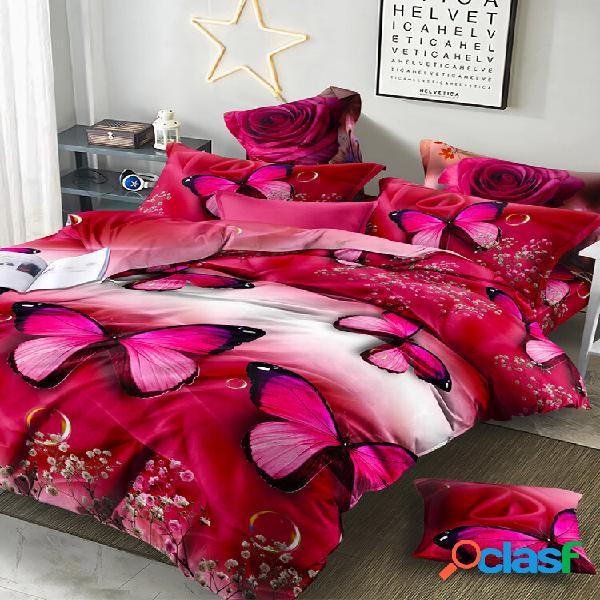 Conjunto de roupa de cama 3d de luxo folha de cama travesseiro de edredom caso impressão 3d flor rosa 2/3/4 unidades que