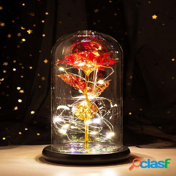 Tampa de vidro com flor rosa dourada colorida presente de dia das mães e decoração luminosa com flor eterna