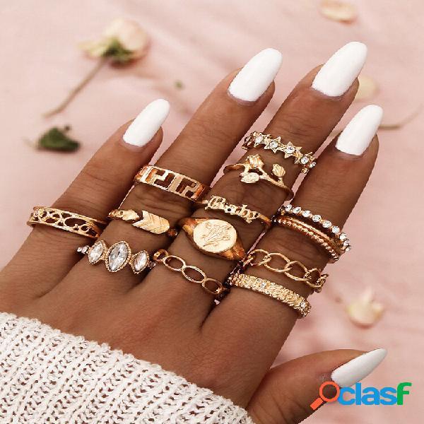 Conjunto de anéis femininos com 12 unidades de flor rosa boêmia tulipa seta estrela de cinco pontas em ouro e joias