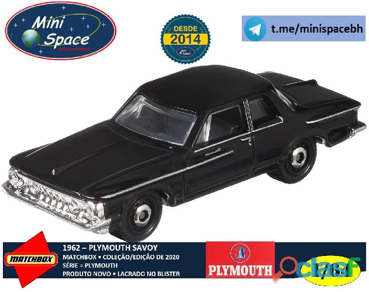 Matchbox 1962 plymouth savoy cor preto 1/64
