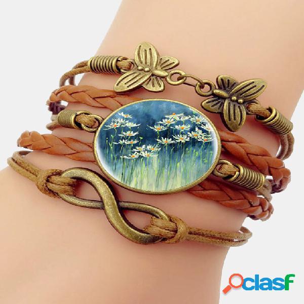 Bracelete de pedras preciosas multicamadas com estampa floral vintage branca padrão borboleta trançada