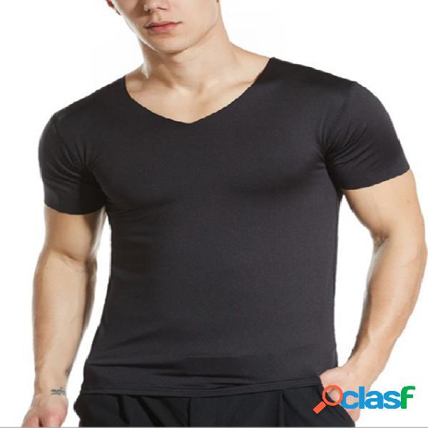 Camiseta masculina esportiva anti-suor com decote em v