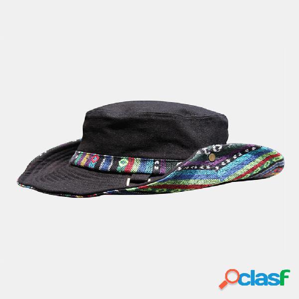 Linho de algodão masculino colorful stripe ethnic padrão patch balde de proteção solar para esportes ao ar livre chapéu