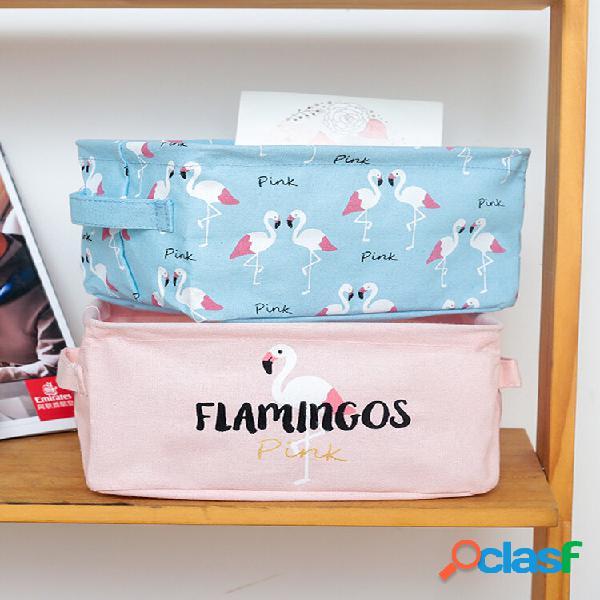 Linho de algodão dobrável flamingo series desktop storage caixa