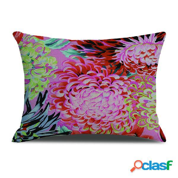 Capa de almofada de linho com estampa floral vintage floral, sofá doméstico, cintura, escritório, fronhas art dez