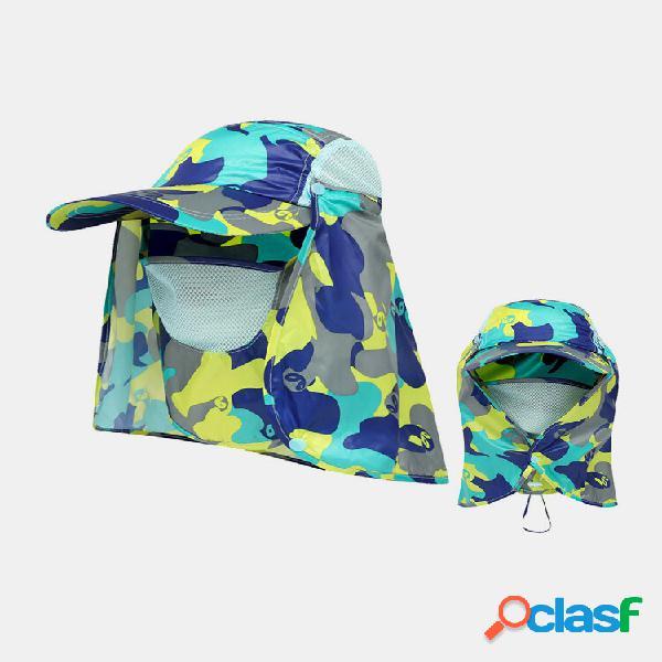 1 pc men nylon malha respirável de secagem rápida com boné de beisebol de proteção solar externo removível máscara
