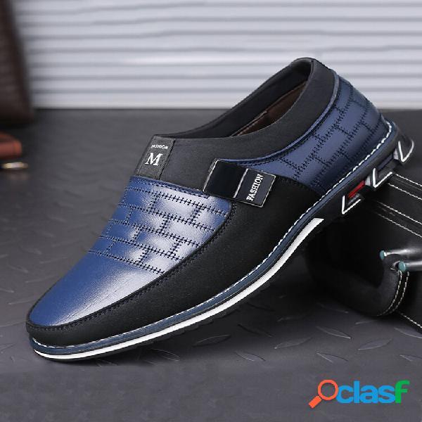 Homens couro genuíno com costura antideslizante de metal soft sapatos casuais com solado