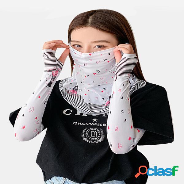 Bonito impresso máscara capa véu manga gelo manga gelo seda manga feminino ew verão protetor solar