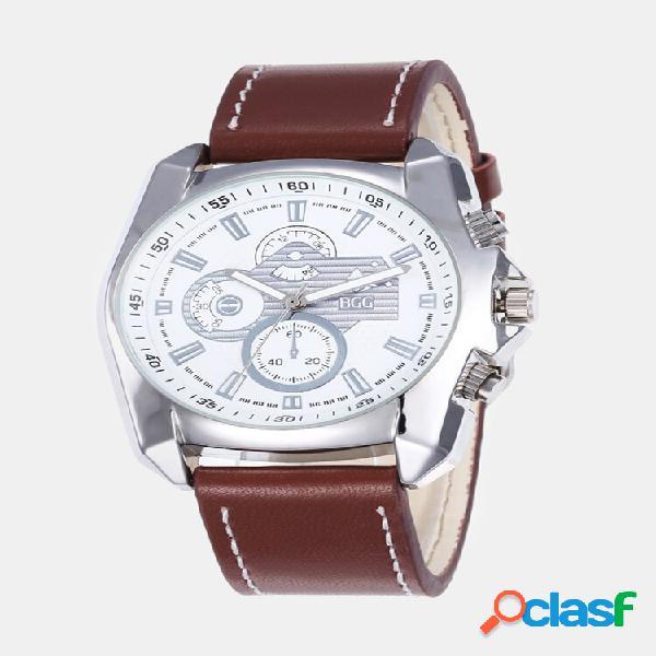 Lazer esporte masculino relógios liga caso couro banda criativo relógios tridimensionais de quartzo com mostrador
