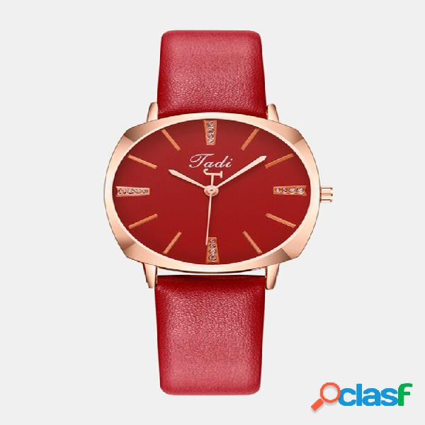 Lazer esporte mulheres watch liga caso nenhum número redondo mostrador couro banda quartzo watches