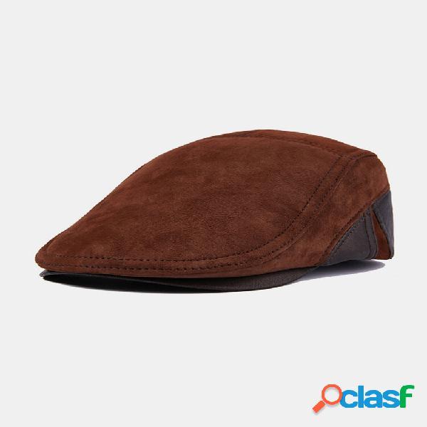 Homens couro genuíno couro de vaca casual fahsion decoração cruzada quente avante chapéu boina chapéu plano chapéu