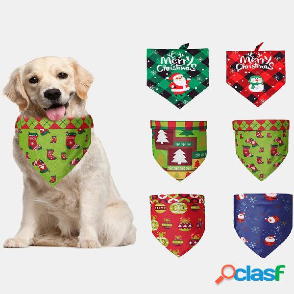 6 pcs natal animal de estimação triângulo cachecol pet saliva toalha dupla face cachorro lenço bandana pet suprimentos