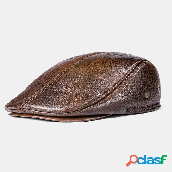Homens couro genuíno manter aquecido plus algodão espessura à prova de vento orelha proteção para frente chapéu boina ch
