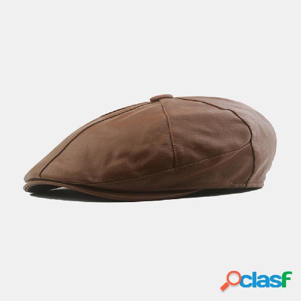 Homens couro falso retro patchwork newsboy chapéu avançado chapéu boina chapéu