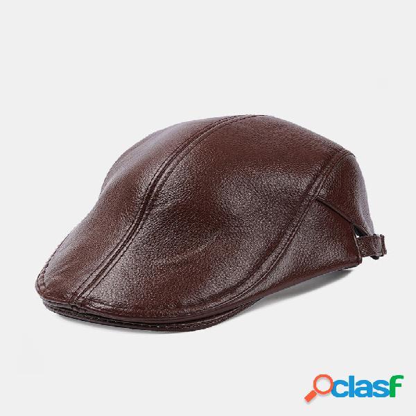 Homens couro genuíno cor sólida casual flat cap universal outdoor forward chapéu boina chapéu