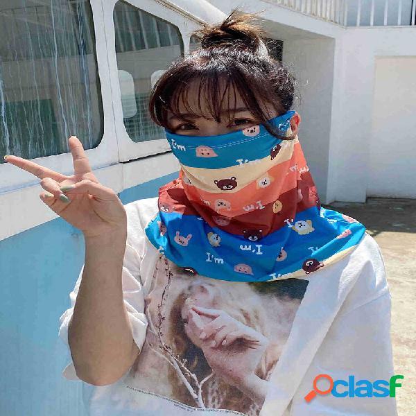 Bonito padrão véu protetor solar de seda de gelo rosto cheio capa de margarida máscara manga de gelo anti-uv pendurado o