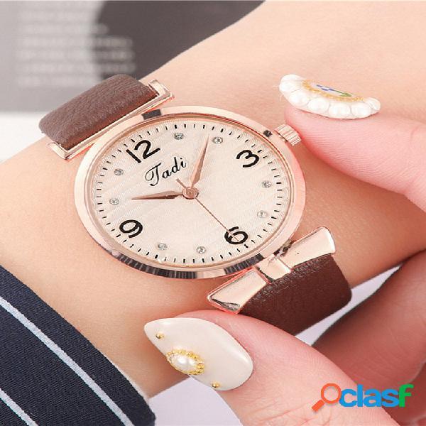 Lazer esporte feminino relógios de couro banda numerais árabes grande relógio de quartzo com mostrador de três ponteiros