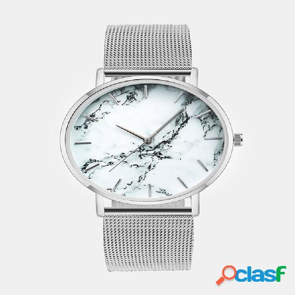 Lazer esporte mulheres watch liga caso malha banda fecho dobrável ajustável quartzo de mármore criativo watches