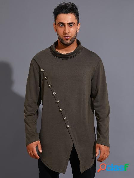 Camiseta masculina casual funil pescoço cor sólida botão design