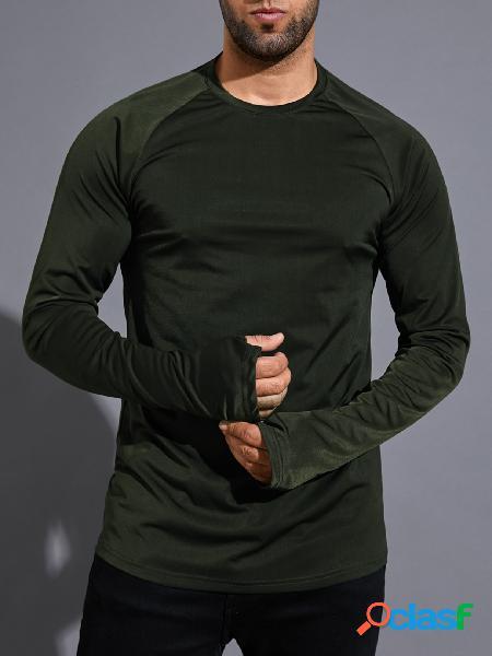 Camiseta masculina casual esportiva cor sólida super soft