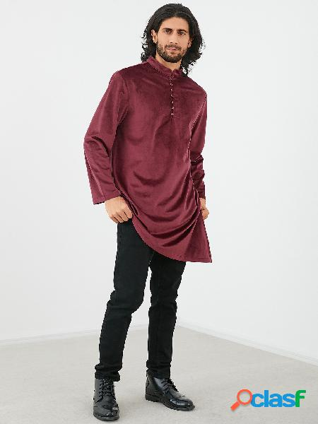 Colarinho étnico masculino cor sólida irregular camisa