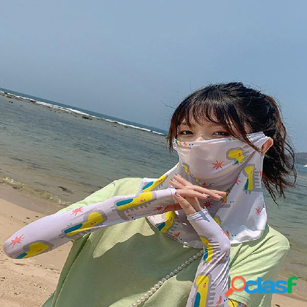 Daisy máscara manga de gelo anti-uv pendurada orelha pescoço máscara rosto de capa de margarida máscara véu de protetor