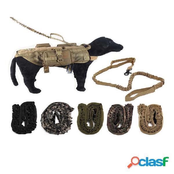 Polícia tática ao ar livre cachorro tira de trela de treinamento elástico canino militar