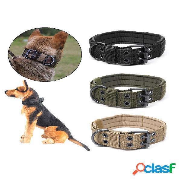 Nylon de tamanho médio e grande cachorro táticas de treinamento cachorro fivela de agulha ajustável de anel de cinco blo