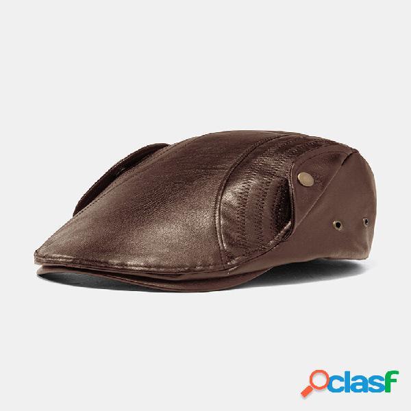 Collrown homens couro faux personalidade retro acolhedor chapéu decoração de botões chapéu boina chapéu