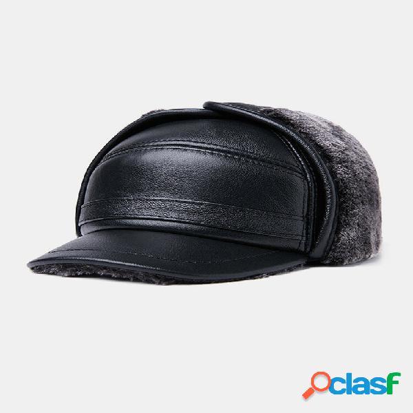 Homens couro genuíno orelha proteção plus engrossar manter aquecido ao ar livre inverno militar chapéu beisebol chapéu
