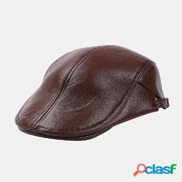 Homens couro genuíno casual retro flat cap fashion forward chapéu boina chapéu