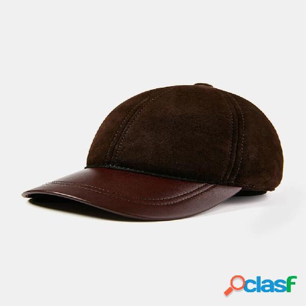 Homens couro genuíno e pele de carneiro de lã de primeira camada personalidade totalmente combinada basebol quente chapé
