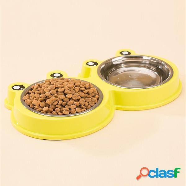 3 cores animais de estimação desenho animado estilo sapo comida água tigela cachorro gato aço inoxidável prato antidesli