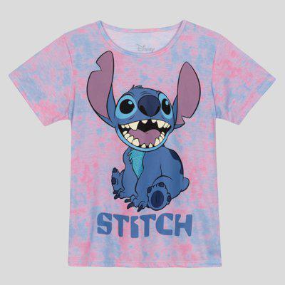 Blusa juvenil menina estampa stitch tie dye
