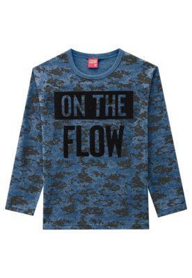 Camiseta infantil menino kyly azul