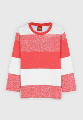 Camiseta kyly infantil color block branco/laranja