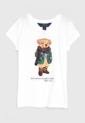 Camiseta polo ralph lauren infantil ursinho branca