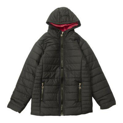 Jaqueta de nylon lisa com capuz cade kids preto