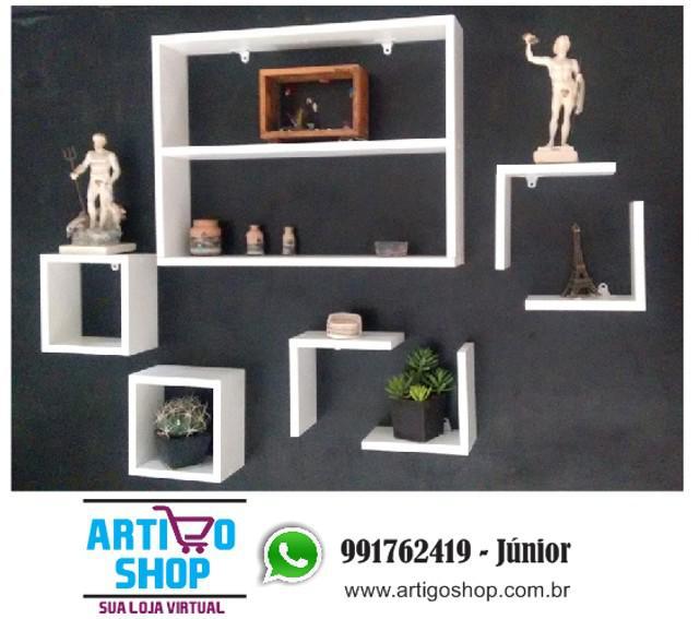 Kit nicho 7 peças branco decoração sala e quarto mdf 15mm