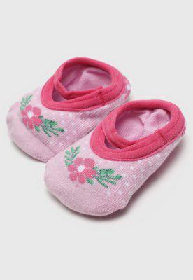 Meia lupo infantil antiderrapante flor rosa