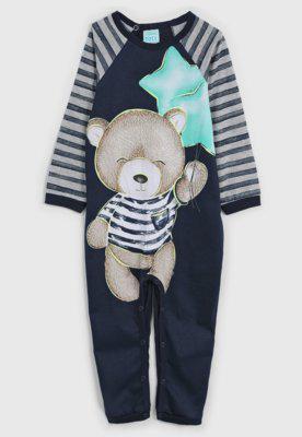 Pijama kyly longo infantil ursinho azul-marinho
