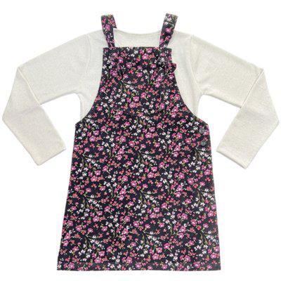 Salopete floral juvenil look jeans c/ blusinha linho bege